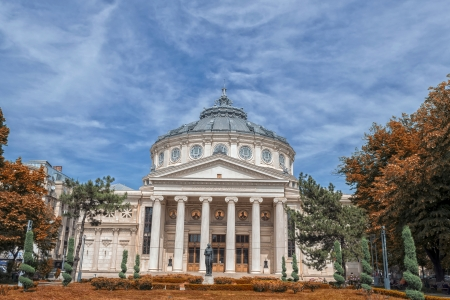 neoclassical: The Romanian Athenaeum in Bucharest, Romania. Opened in 1888 it is a concert hall in the center of Bucharest and a landmark of the Romanian capital city.