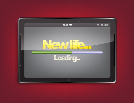 new life: Tablet computer with the message New life... and a loading bar on the screen.