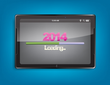 Tablet computer with the message 2014 and a loading bar on the screen. Vector