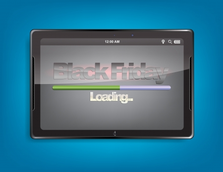 Tablet computer with the message Black Friday and a loading bar on the screen.
