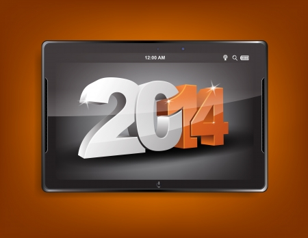 Tablet computer with the message 2014 on a orange background. Vector