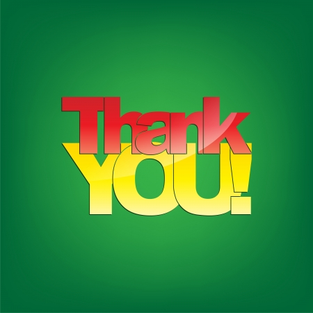 Thank you! Typography background on green. Vector