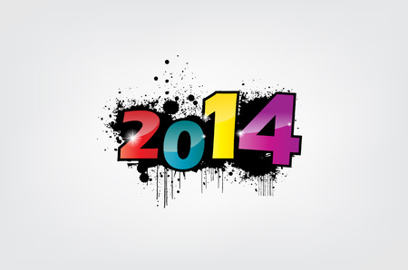 New year 2014 wallpaper, grunge effect. Vector