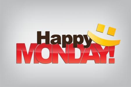 Happy Monday! Avec un émoticône. Fond de motivation.