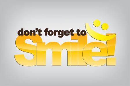 미소하는 것을 잊지 마십시오. 이모티콘 미소. 동기 부여 배경. 일러스트
