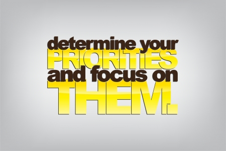 Determine your priorities and focus on them. Motivational background.