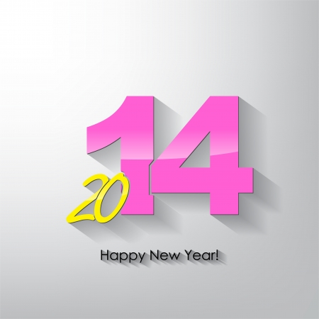 shaddow: Happy new year 2014  Typography poster  Long Shaddow  Illustration