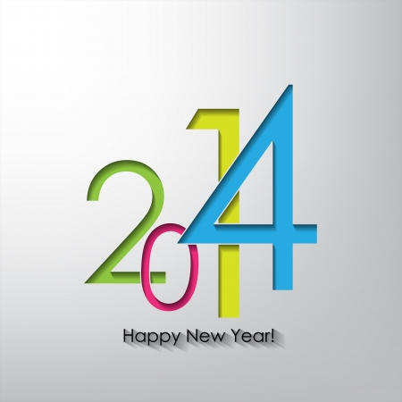 Happy new year 2014  Typography poster with shadow Vector