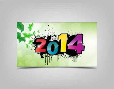 2014 New year card isolated on a grey background. Typography background. Vector