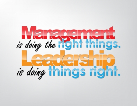 Management is doing the right things. Leadership is doing things right. Motivational background. Typography poster.