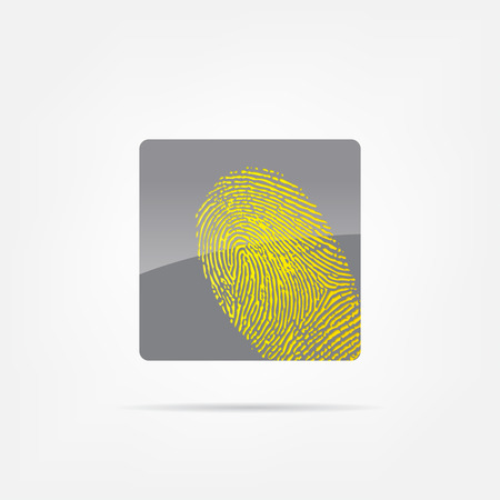 Abstract icon. Black abstract icon isolated on a white background with a fingerprint. Stock Vector - 23825566