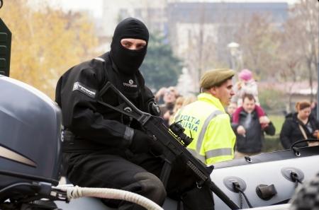 counterterrorism: BUCHAREST, ROMANIA, DEC. 1: Military Parade on National Day of Romania, Arc de Triomphe, December 1, 2013 in Bucharest.
