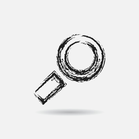 lens brush: Grunge search icon, graphic design element.