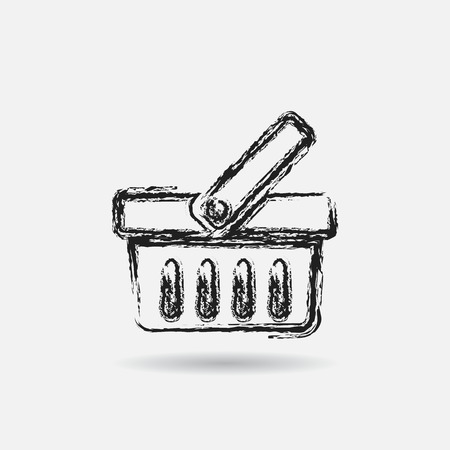cart icon: Grunge shopping icon, graphic design element.