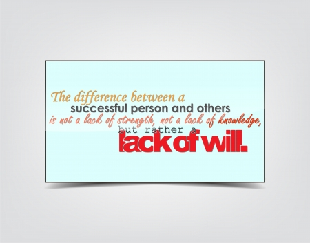lack: The difference between a successful person and others is not a lack of strength, not a lack of knowledge, but rather a lack of will. Motivational background. Typography poster.