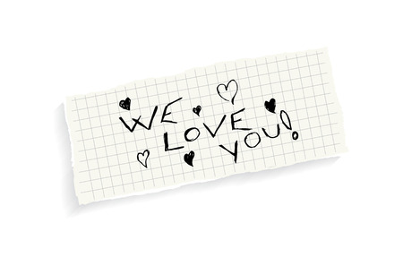 we: We love you! Hand writing text on a piece of math paper isolated on a white background.