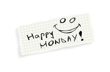 monday: Happy Monday! Hand writing text on a piece of math paper isolated on a white background.