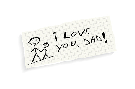 I love you, Dad! Hand writing text on a piece of math paper isolated on a white background. Vector