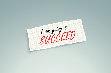 motivated: I am going to succeed. Hand writing text on a piece of math paper on a blue background. Illustration