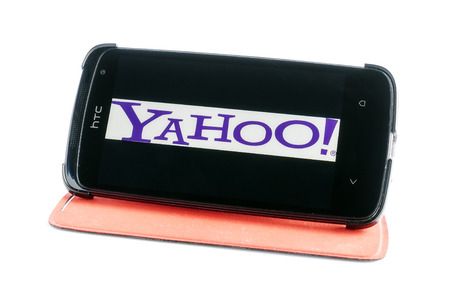 Bucharest, Romania - Jan 24, 2014: Photo of Yahoo! on smartphone screen.