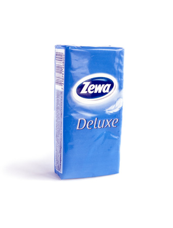 Bucharest, Romania - Jan 24, 2014: A pack of Zewa Deluxe napkins isolated on white background. In the consumer tissue sector, Zewa supplies toilet paper, household towels and handkerchievesfacials.