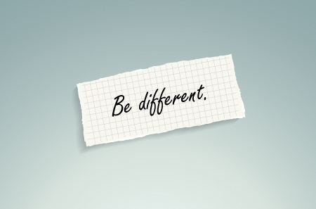 Be different. Hand writing text on a piece of math paper on a blue background. Vector