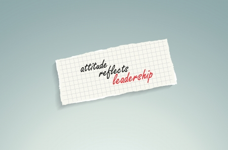 Attitude reflects leadership. Hand writing text on a piece of math paper on a blue background. Vector