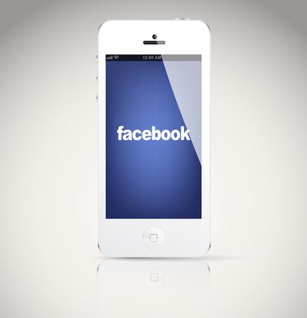 social networking service: Bucarest, Rumania - 06 de febrero 2014: Iphone 5 dispositivo, que muestra el logotipo de Facebook. Facebook es un servicio de redes sociales en l�nea, fundada en febrero de 2004