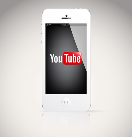 Bucharest, Romania - February 06, 2014: Iphone 5 device, showing the YouTube logo.YouTube is a video-sharing website, on which users can upload, view and share videos.