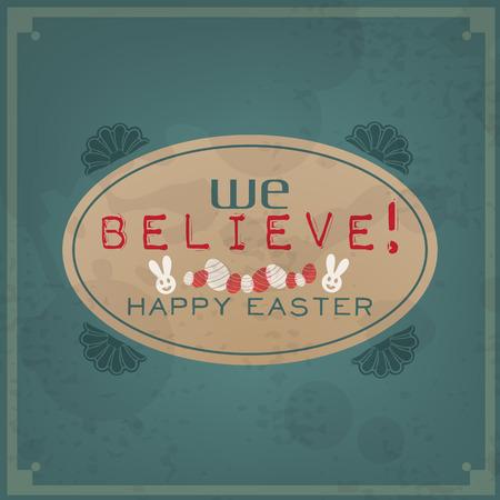 Happy Easter. Vintage Typographic Background. Retro Label With Calligraphic Elements Vector