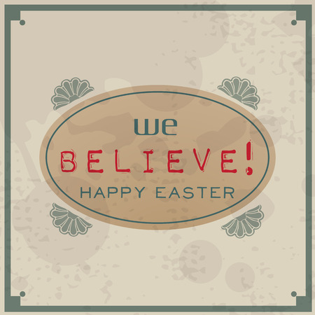 Happy Easter. Vintage Typographic Background. Retro Label With Calligraphic Elements Vector