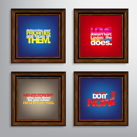 Set Of Typographic Backgrounds. Motivational Quotes. Canvas With Calligraphic Elements Vector