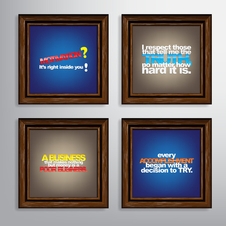 money matters: Set Of Typographic Backgrounds. Motivational Quotes. Canvas With Calligraphic Elements