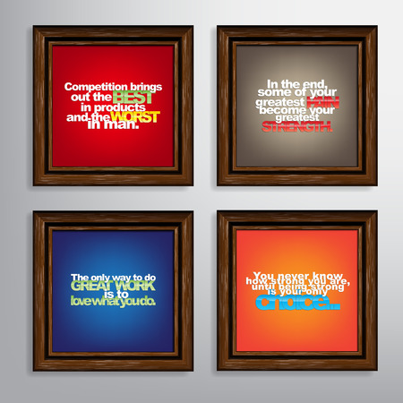 brings: Set Of Typographic Backgrounds. Motivational Quotes. Canvas With Calligraphic Elements