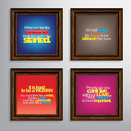 horse like: Set Of Typographic Backgrounds. Motivational Quotes. Canvas With Calligraphic Elements