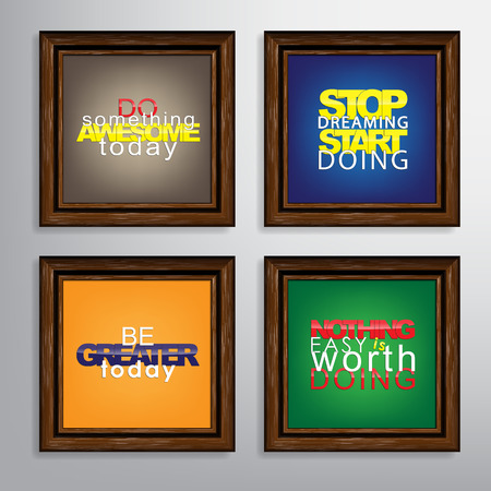 Set Of Typographic Backgrounds. Motivational Quotes. Canvas With Calligraphic Elements