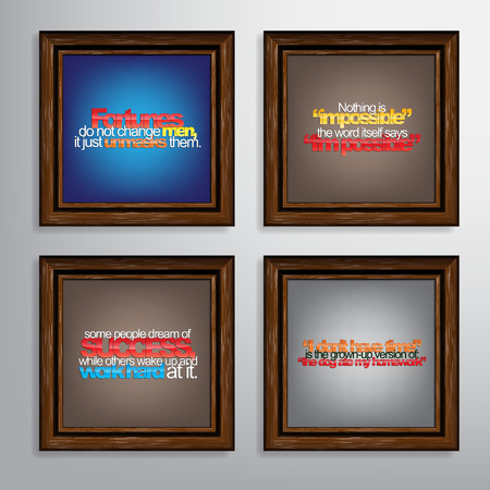 unmask: Set Of Typographic Backgrounds. Motivational Quotes. Canvas With Calligraphic Elements