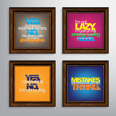 boring frame: Set Of Typographic Backgrounds. Motivational Quotes. Canvas With Calligraphic Elements