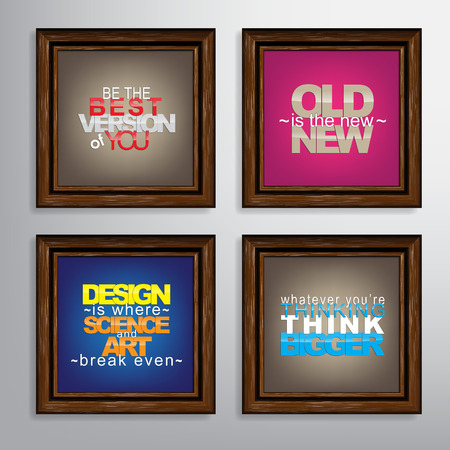 version: Set Of Typographic Backgrounds. Motivational Quotes. Canvas With Calligraphic Elements