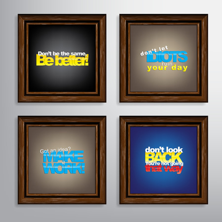 got: Set Of Typographic Backgrounds. Motivational Quotes. Canvas With Calligraphic Elements