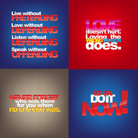 else: Set Of Typographic Backgrounds. Motivational Quotes. Backgrounds With Calligraphic Elements