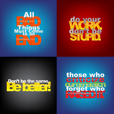 things to do: Set Of Typographic Backgrounds. Motivational Quotes. Backgrounds With Calligraphic Elements