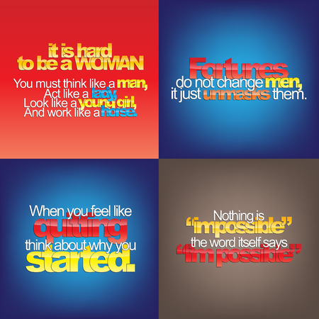 horse like: Set Of Typographic Backgrounds. Motivational Quotes. Backgrounds With Calligraphic Elements
