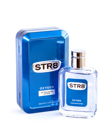 BUCHAREST, ROMANIA - FEB 17,2014: A case of STR8 case aftershace lotion isolated on white. Aftershave is a Lotion, Gel, Balm, or liquid used mainly by men after they have finished shaving.