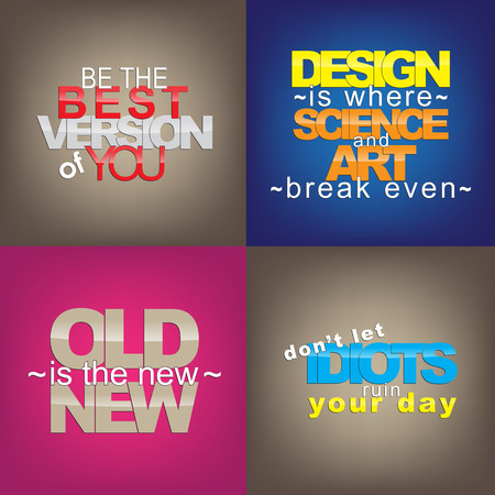 version: Set Of Typographic Backgrounds. Motivational Quotes. Backgrounds With Calligraphic Elements