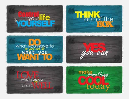 Set Of Typographic Backgrounds. Motivational Quotes. Backgrounds With Calligraphic Elements