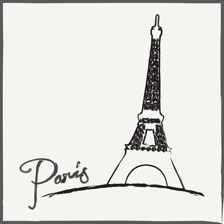 Abstract vintage background. Brushed illustration with Eiffel tower. Vector