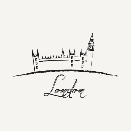 westminster abbey: Abstract vintage background. Brush illustration with Big Ben