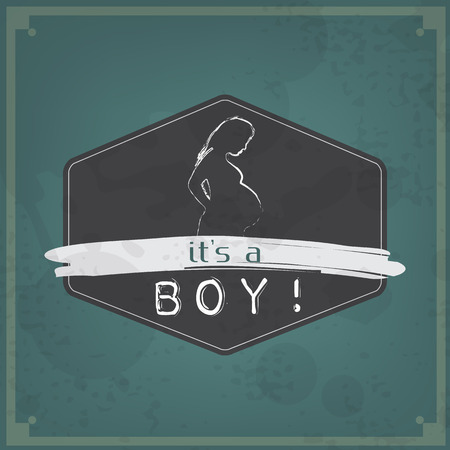 its a boy: Retro Baby card - Its a boy theme - with a pregnant woman