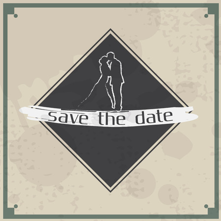 Wedding invitation card. Save the date, retro  theme. Vector